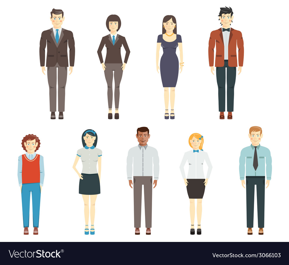 Set of young men and women wearing office clothes vector | Price: 1 Credit (USD $1)