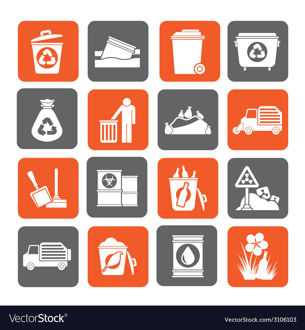 Silhouette garbage and rubbish icons vector | Price: 1 Credit (USD $1)