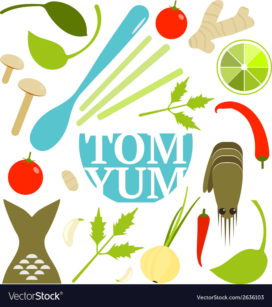Tom yum soup food set vector | Price: 1 Credit (USD $1)