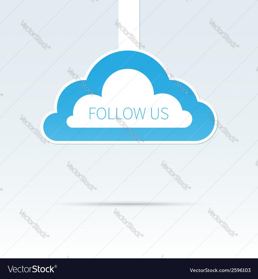 Trendy follow us cloud icon tag vector   Price: 1 Credit (USD $1)