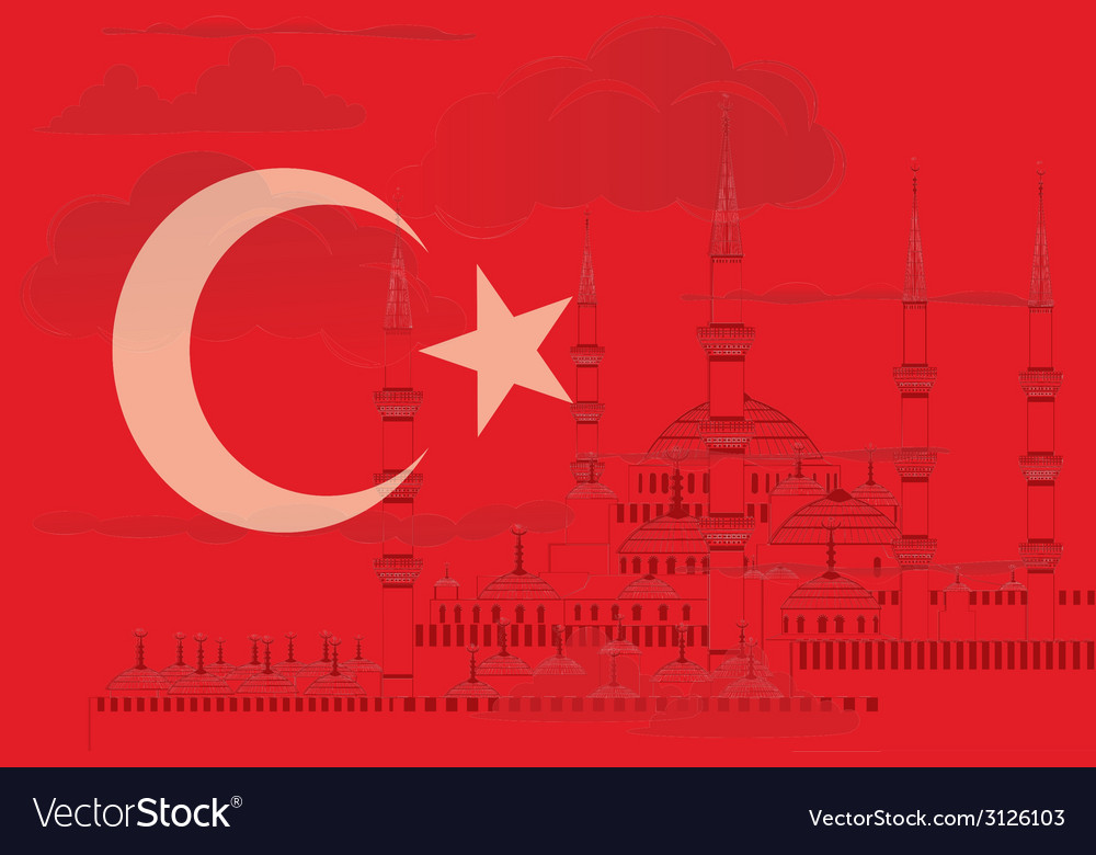 Turkey flag with blue mosque vector | Price: 1 Credit (USD $1)