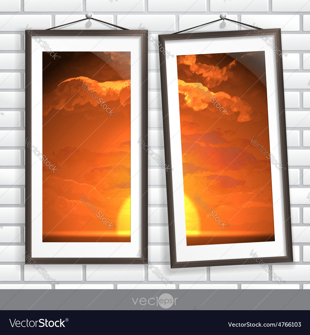 Two frames of picture on a striped old wall vector | Price: 3 Credit (USD $3)