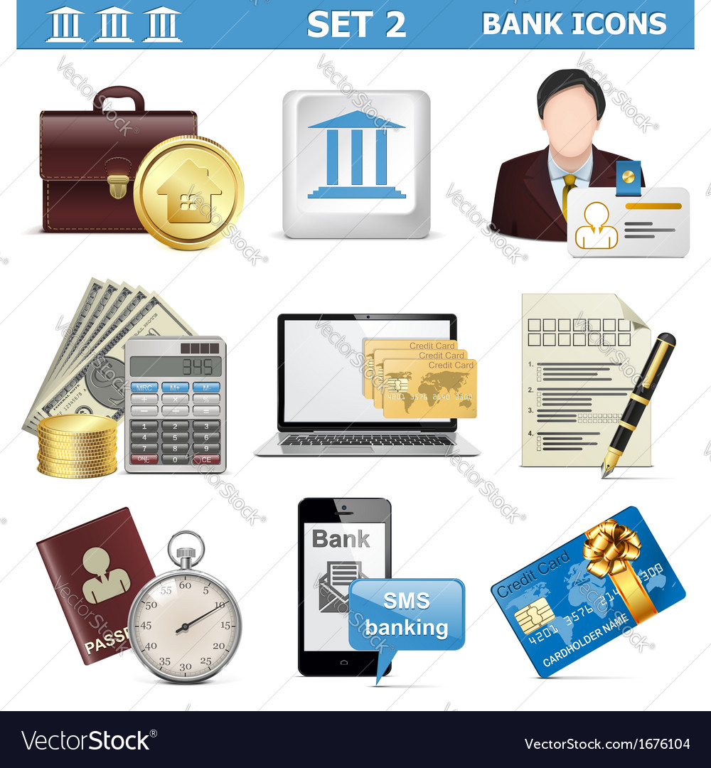 Bank icons set 2 vector | Price: 1 Credit (USD $1)