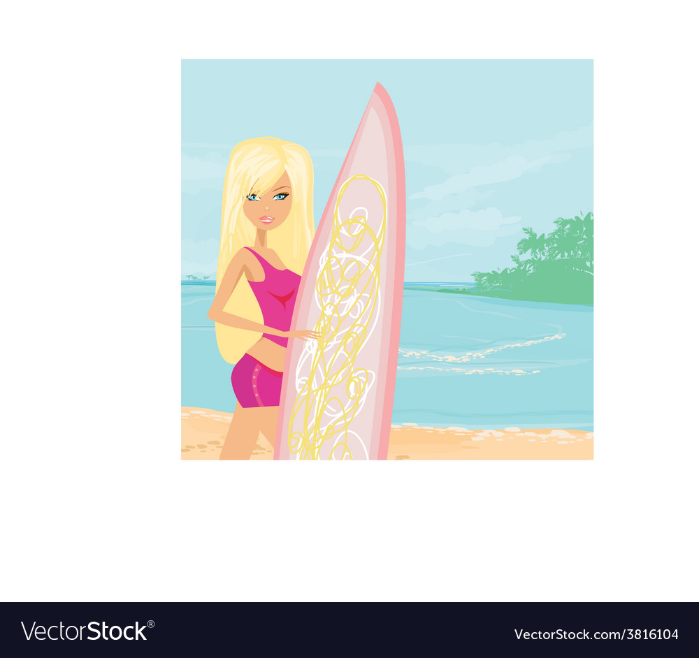 Beautiful surfer girl on a beach vector | Price: 1 Credit (USD $1)