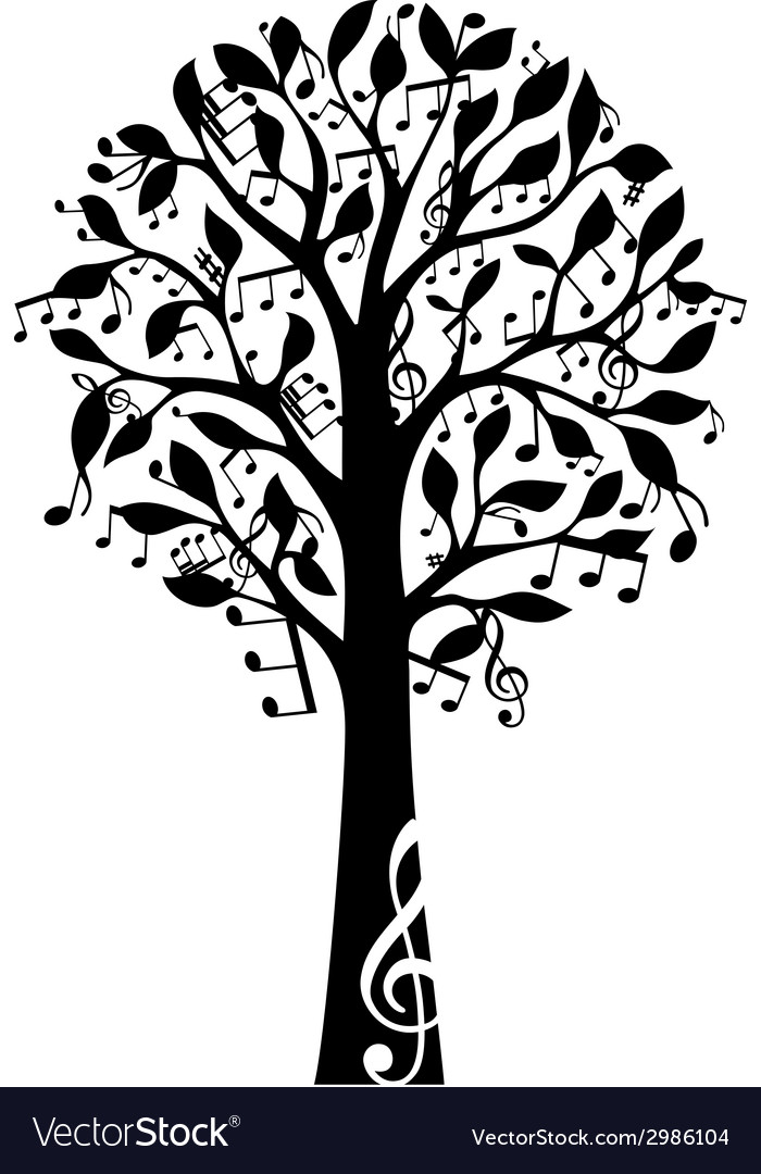 Black music tree isolated on white background vector   Price: 1 Credit (USD $1)