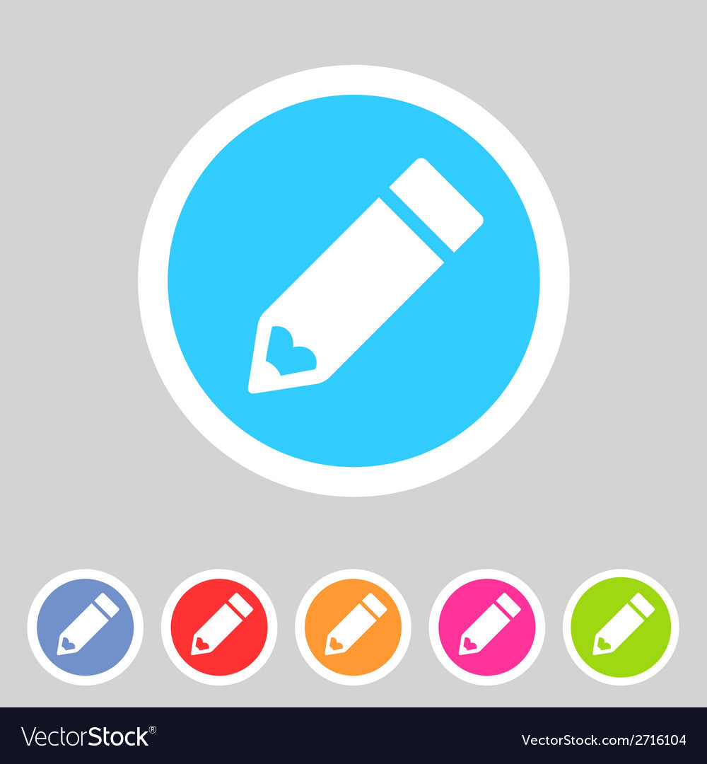 Flat pencil icon colorful icon vector | Price: 1 Credit (USD $1)