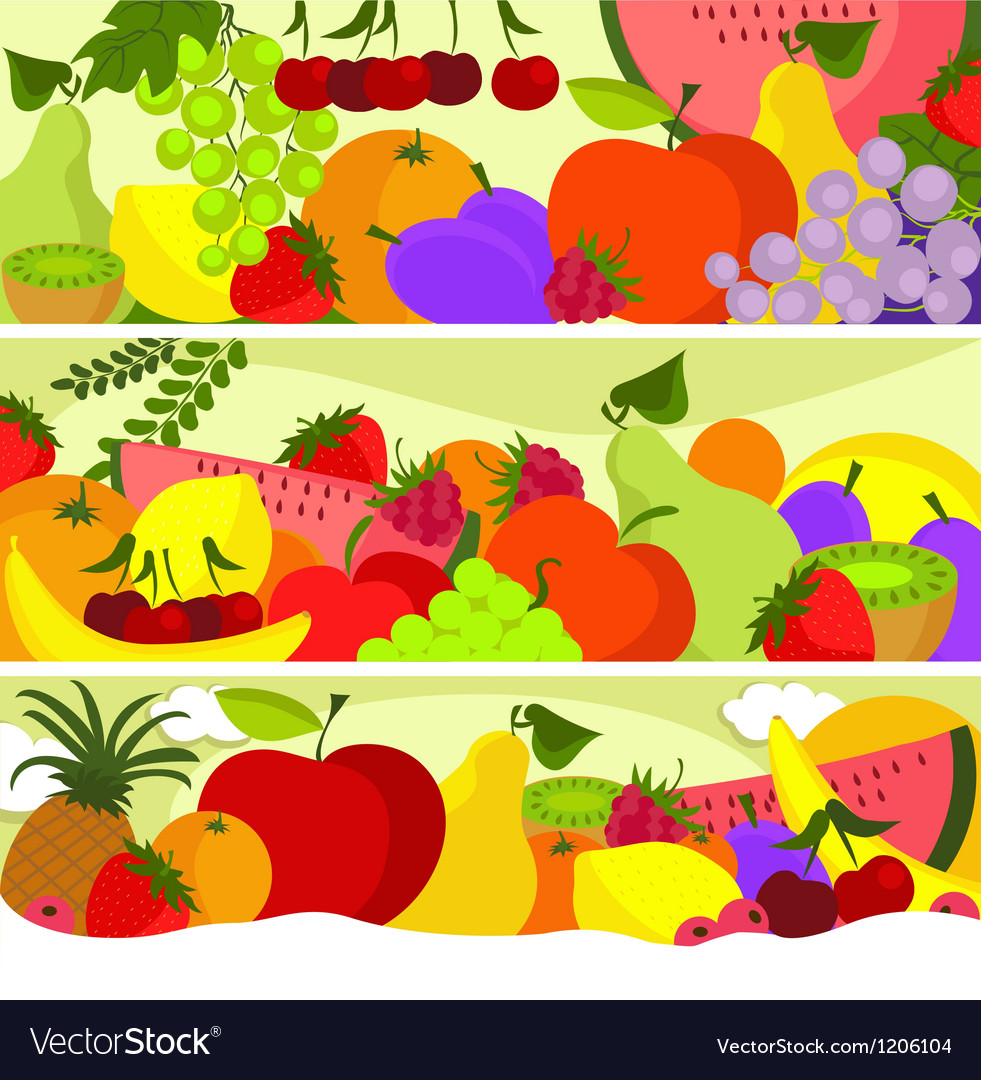 Fruit banners vector | Price: 1 Credit (USD $1)