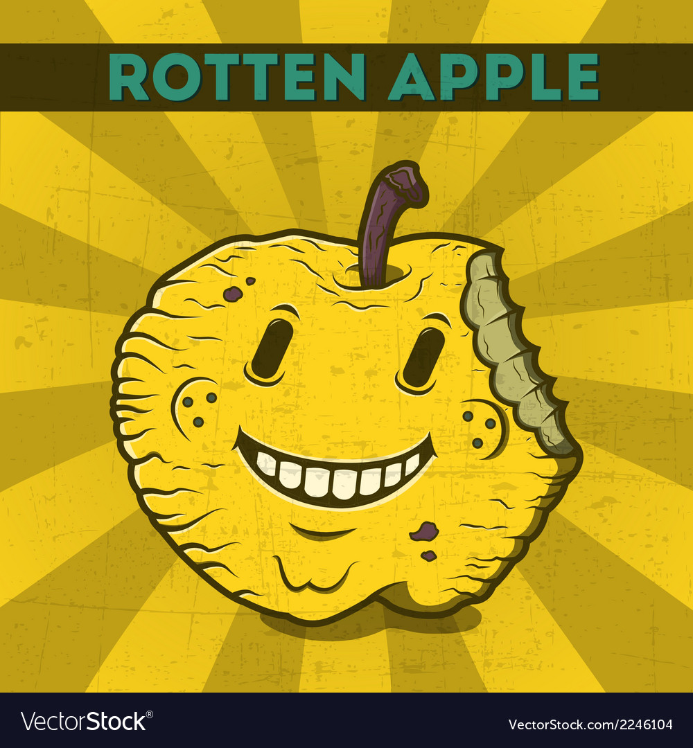 Funny cartoon malicious yellow monster apple vector | Price: 1 Credit (USD $1)