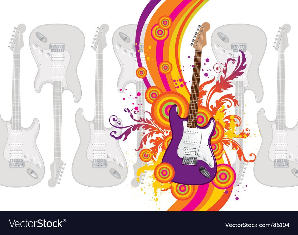 Guitar rainbow waves vector | Price: 1 Credit (USD $1)