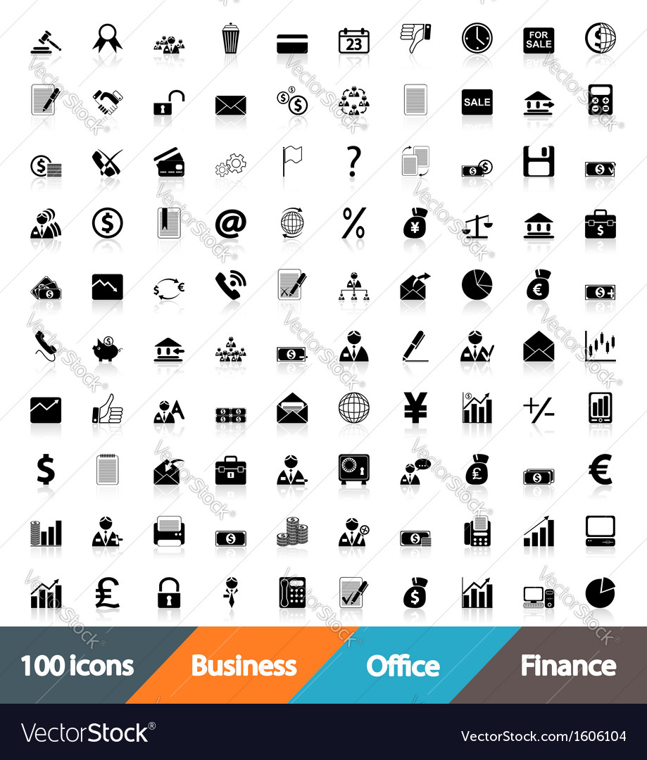 Icons business office  finance vector | Price: 1 Credit (USD $1)