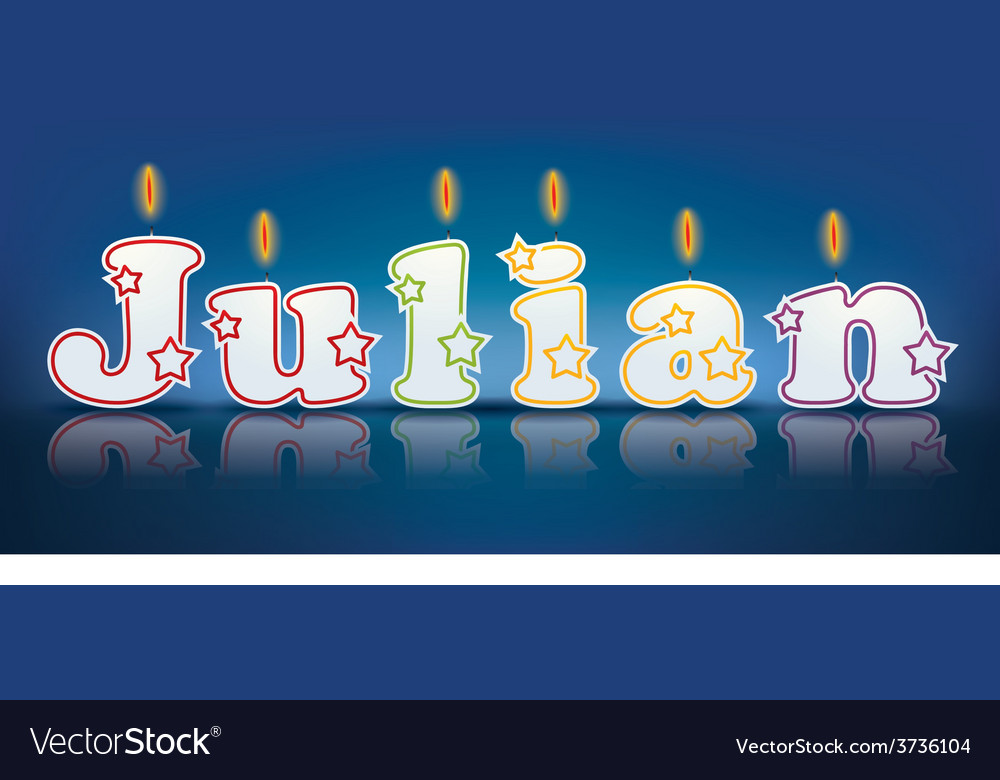 Julian written with burning candles vector | Price: 1 Credit (USD $1)