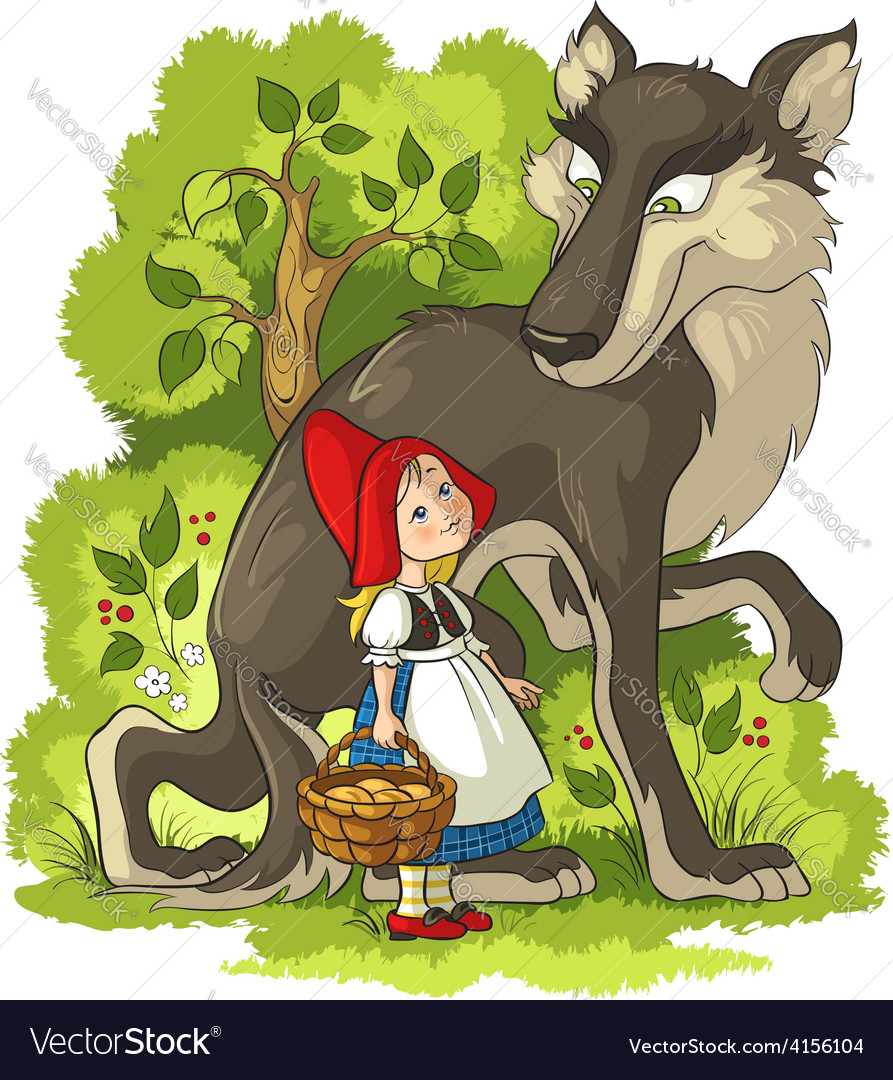 Little red riding hood and wolf in the forest vector | Price: 5 Credit (USD $5)