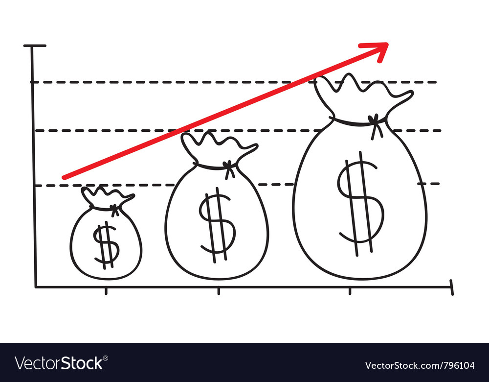 Money growth graph vector | Price: 1 Credit (USD $1)