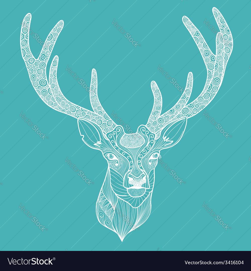 Patterned deer head with big antlers vector | Price: 1 Credit (USD $1)