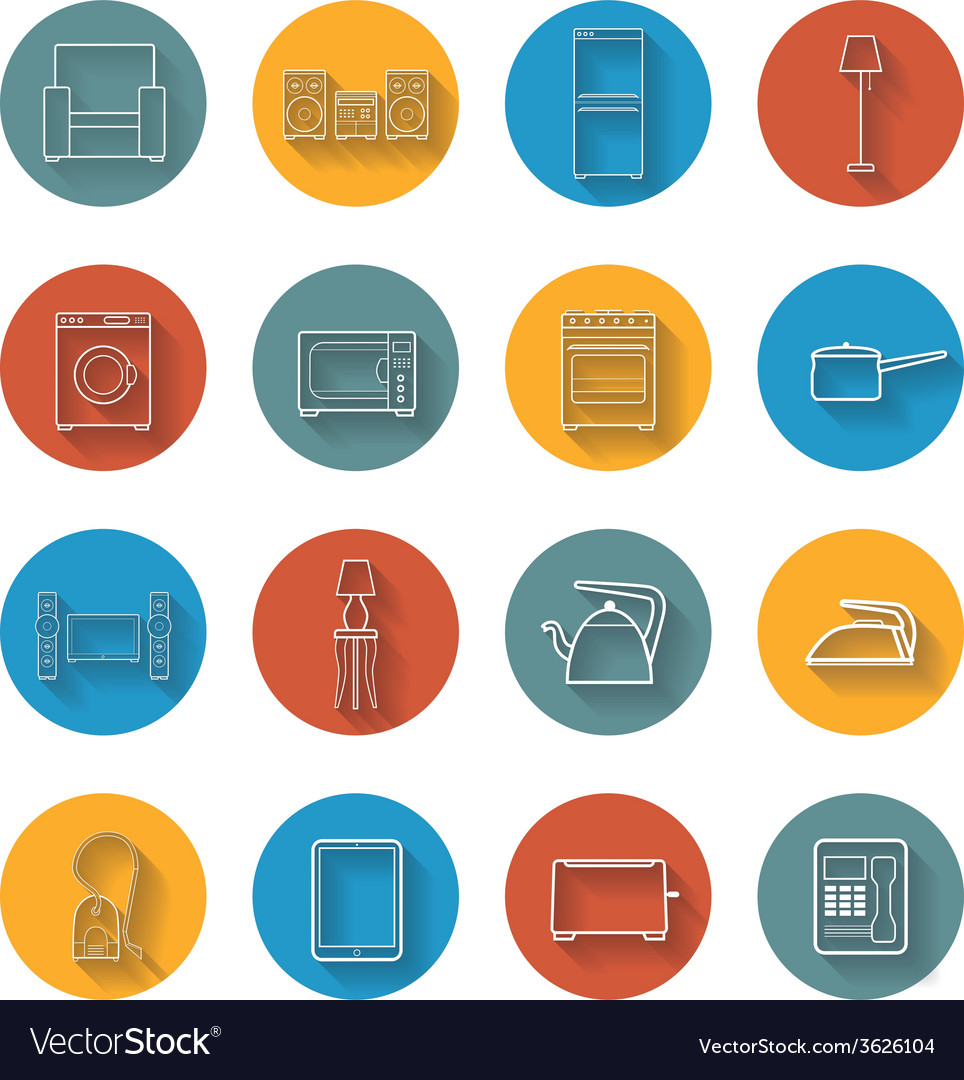 Set flat icons of house appliance vector | Price: 1 Credit (USD $1)