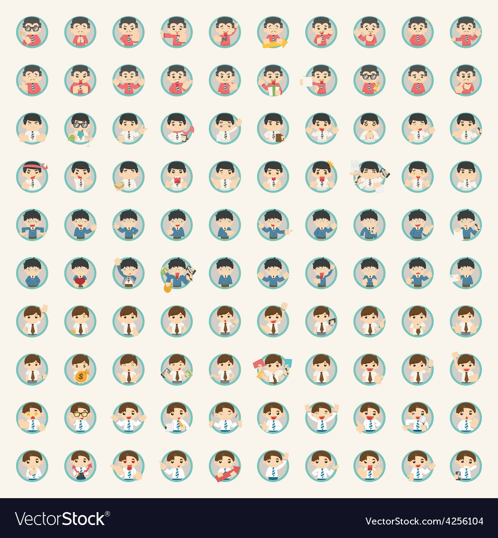 Set of businessman character vector | Price: 1 Credit (USD $1)