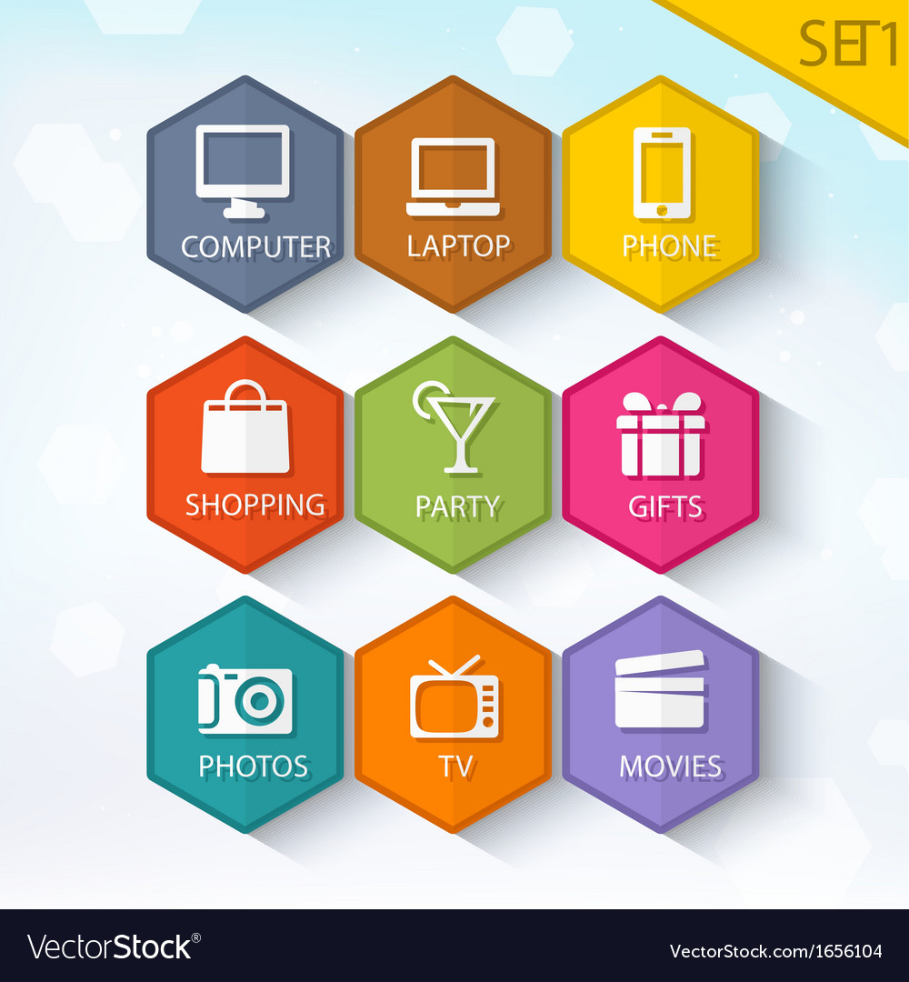 Trendy rounded hexagon icons set 1 vector | Price: 1 Credit (USD $1)