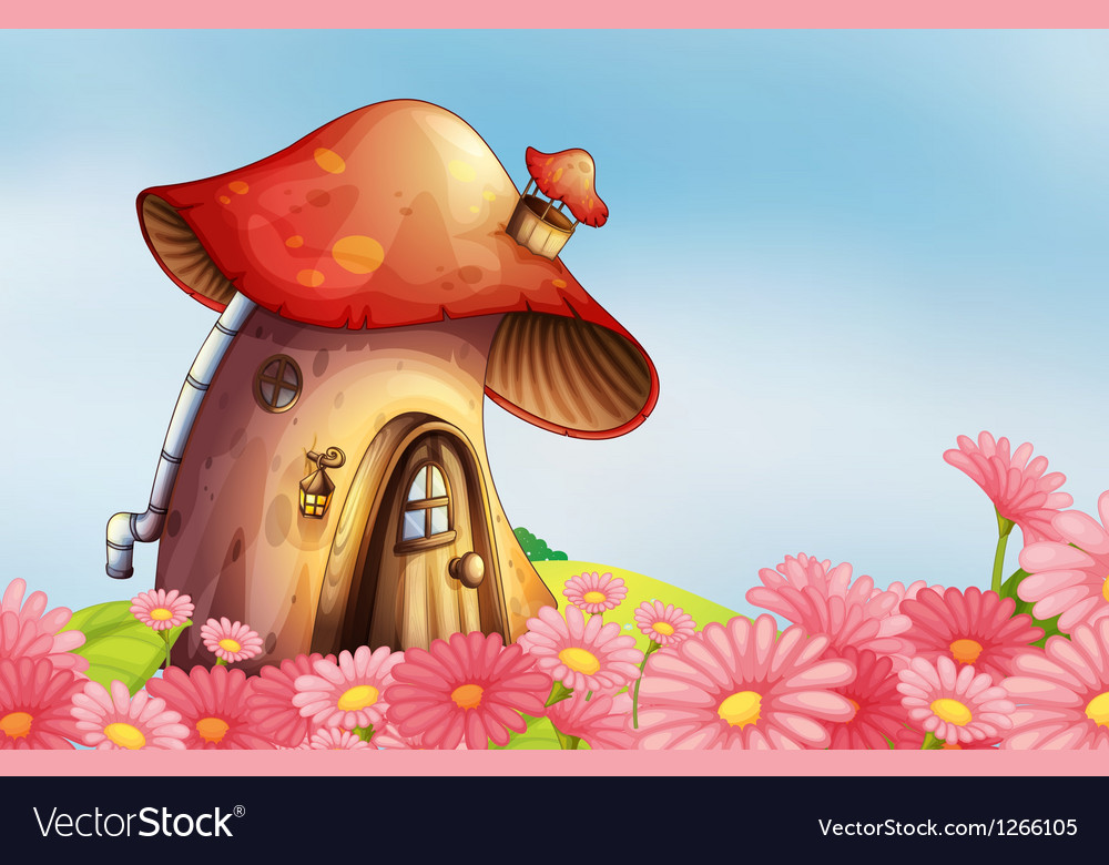 A garden with a mushroom house vector | Price: 1 Credit (USD $1)