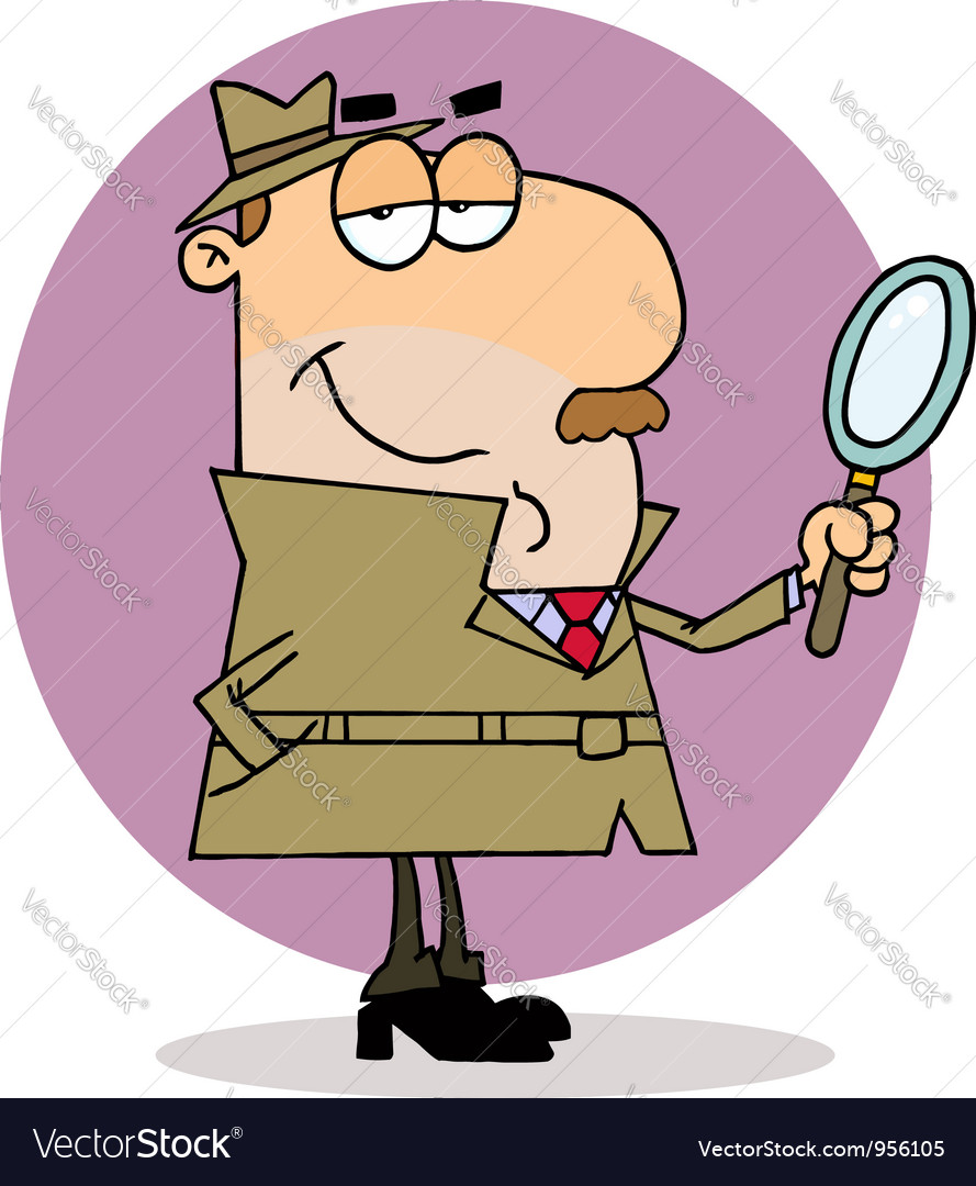 Caucasian cartoon investigator man vector | Price: 1 Credit (USD $1)