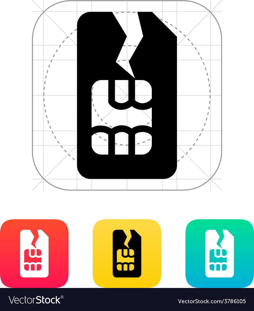 Damage sim card icon vector | Price: 1 Credit (USD $1)