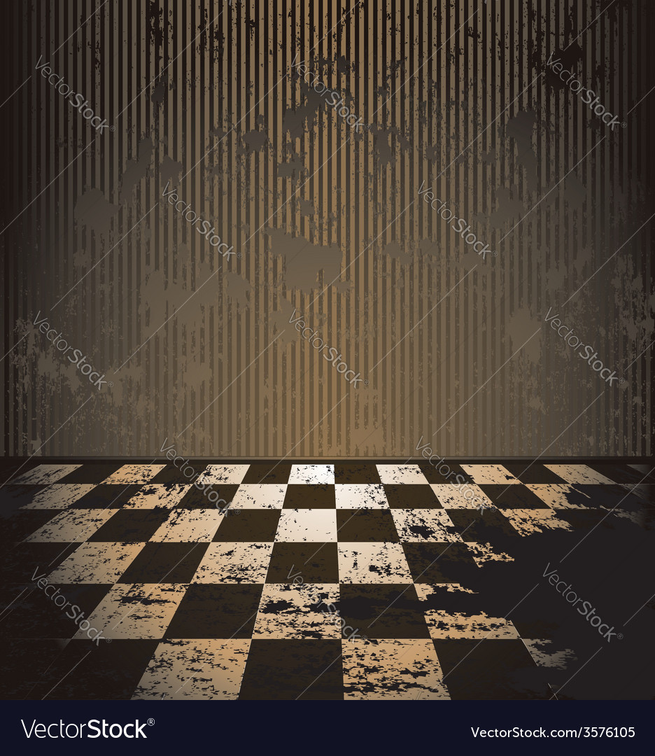 Dirty room with checkered floor vector | Price: 3 Credit (USD $3)