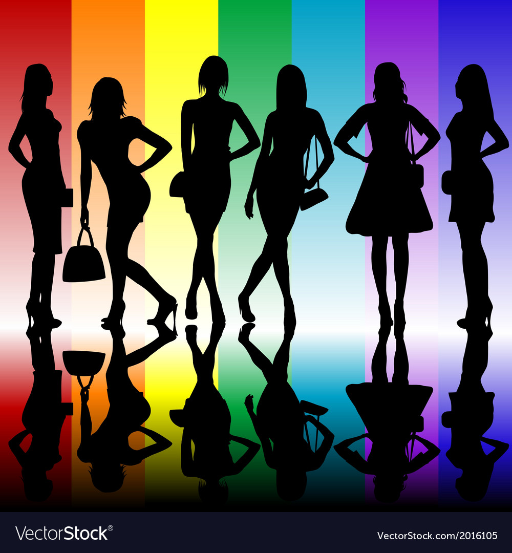 Fashion background with young ladies silhouettes vector | Price: 1 Credit (USD $1)