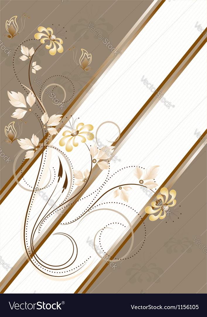 Flowers and butterflies on light brown striped bac vector | Price: 1 Credit (USD $1)