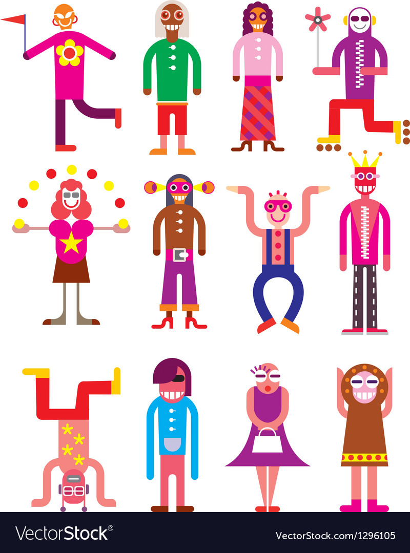Group of 12 funny people vector   Price: 3 Credit (USD $3)
