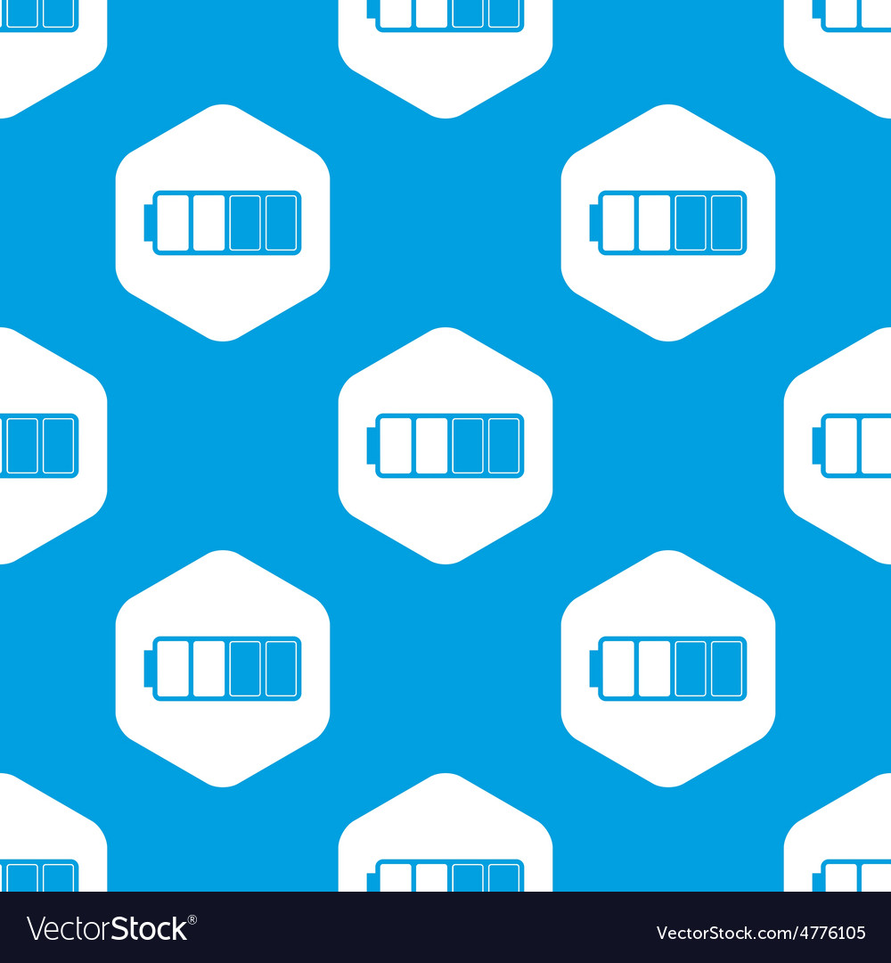 Half charged battery hexagon pattern vector | Price: 1 Credit (USD $1)
