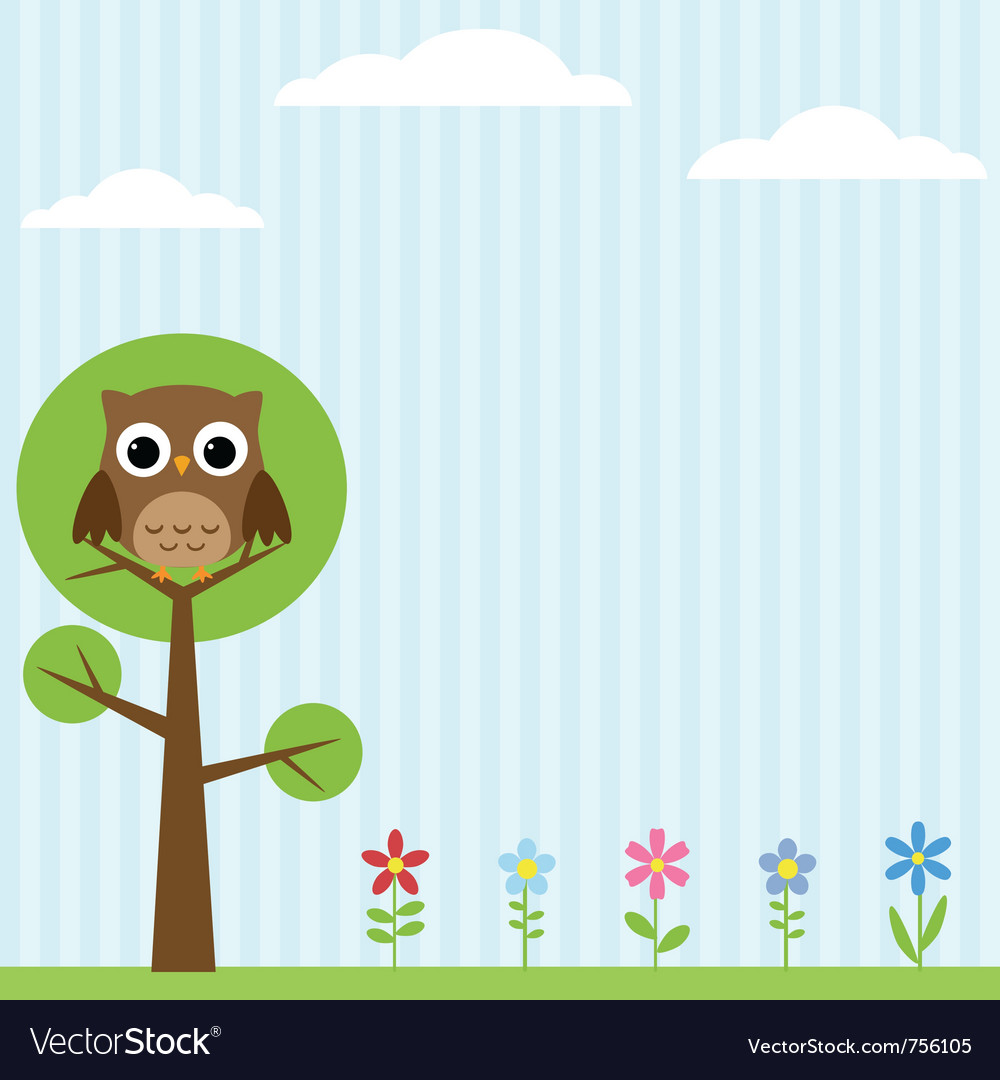 Owl on the tree background vector