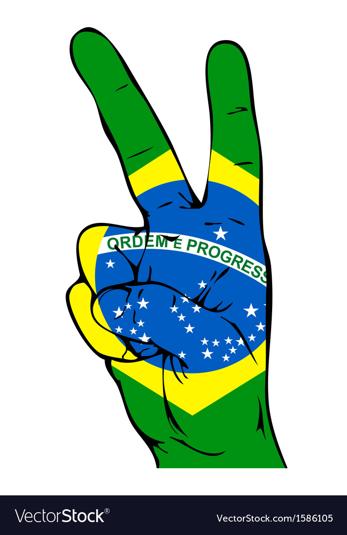 Peace sign of the brazilian flag vector | Price: 1 Credit (USD $1)