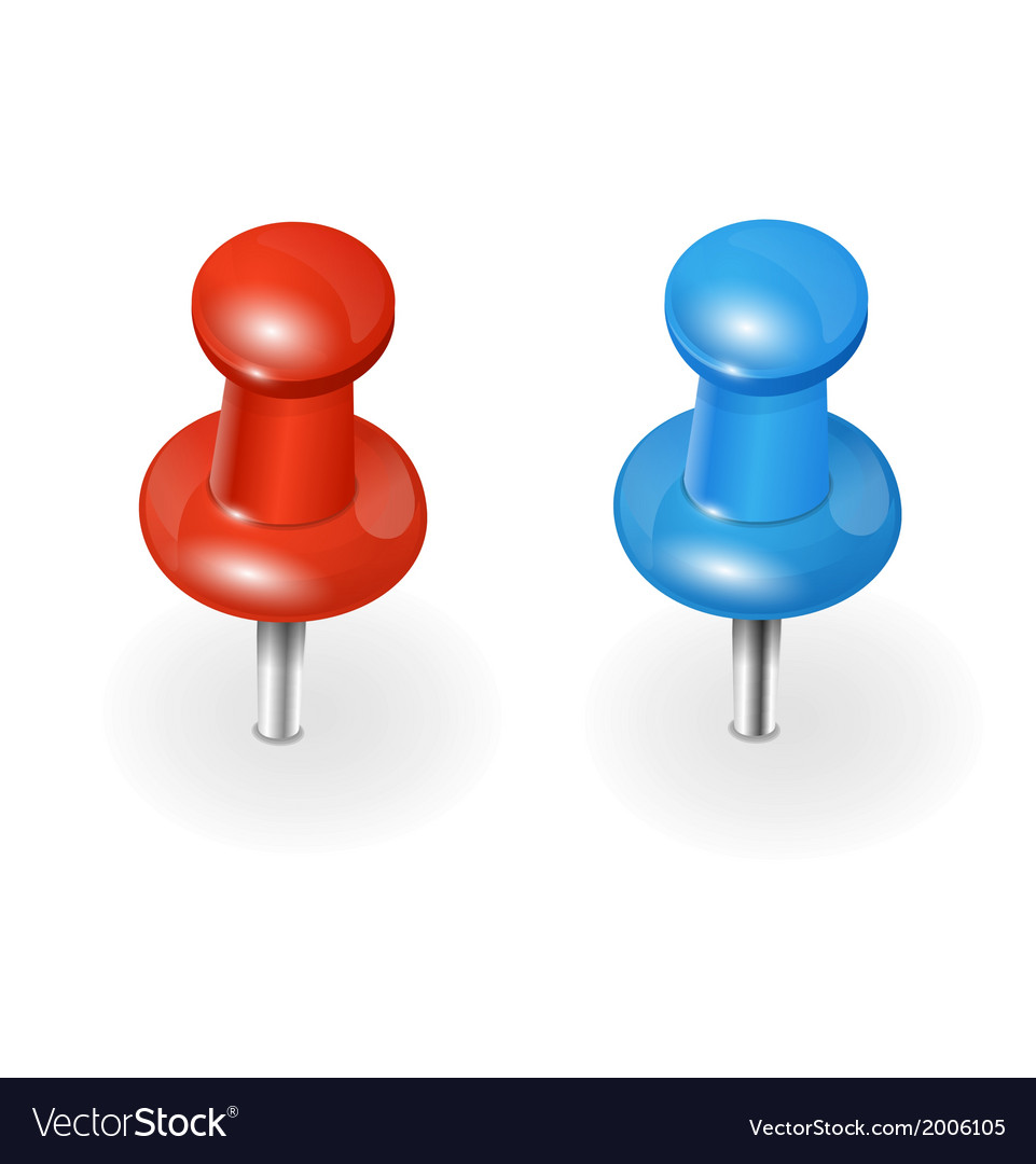 Red and blue pushpin on white background vector | Price: 1 Credit (USD $1)