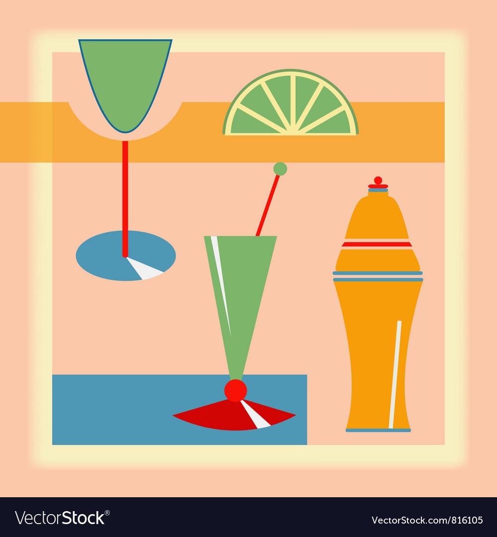 Retro cocktail background vector | Price: 1 Credit (USD $1)