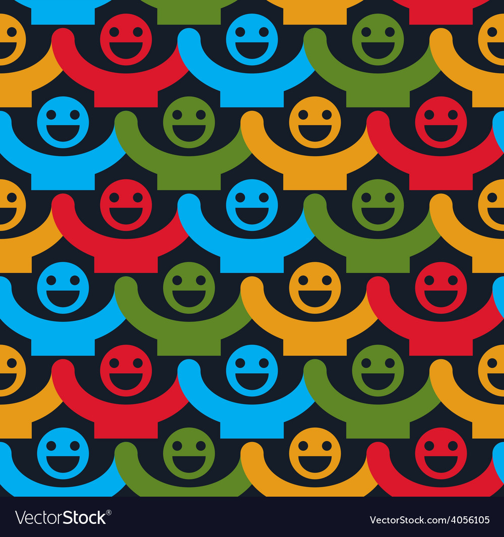 Seamless background with colorful smiley faces vector | Price: 1 Credit (USD $1)