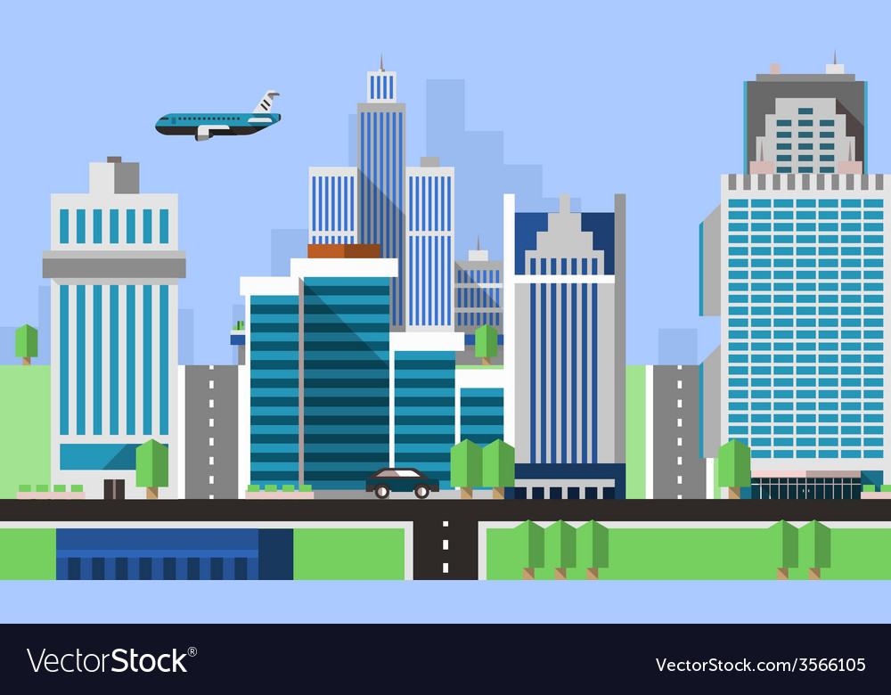 Skyscraper offices background vector | Price: 1 Credit (USD $1)