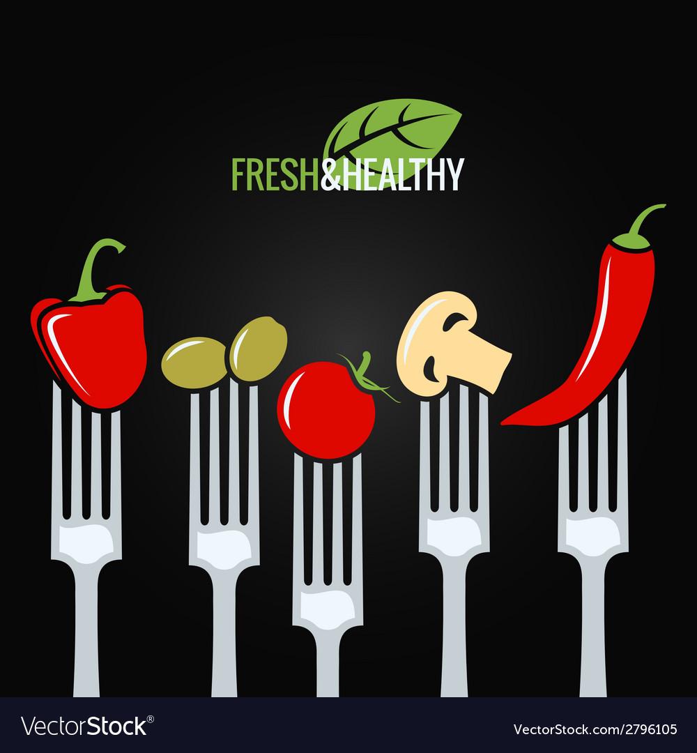 Vegetables on fork food design menu background vector | Price: 1 Credit (USD $1)