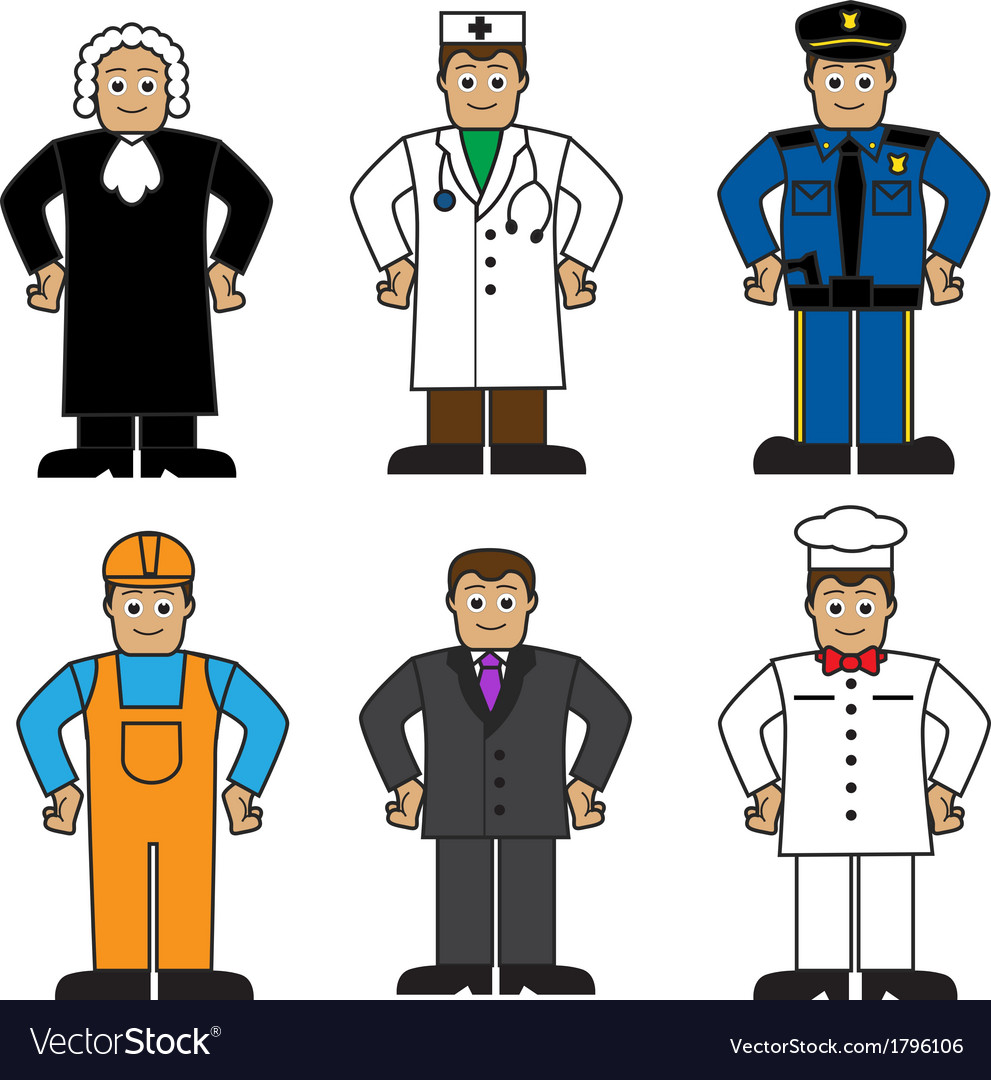 Cartoon set of people of different professions vector | Price: 1 Credit (USD $1)