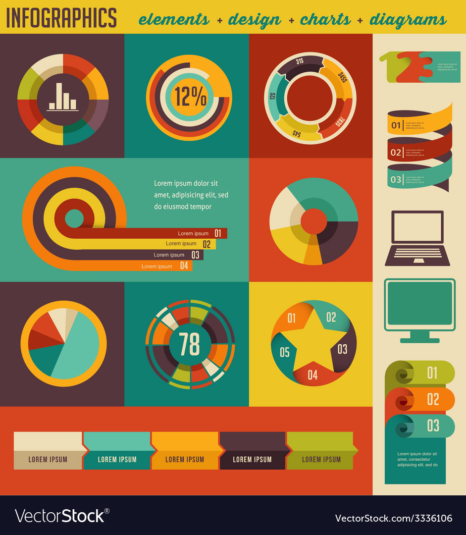 Elements and icons of infographics vector | Price: 1 Credit (USD $1)