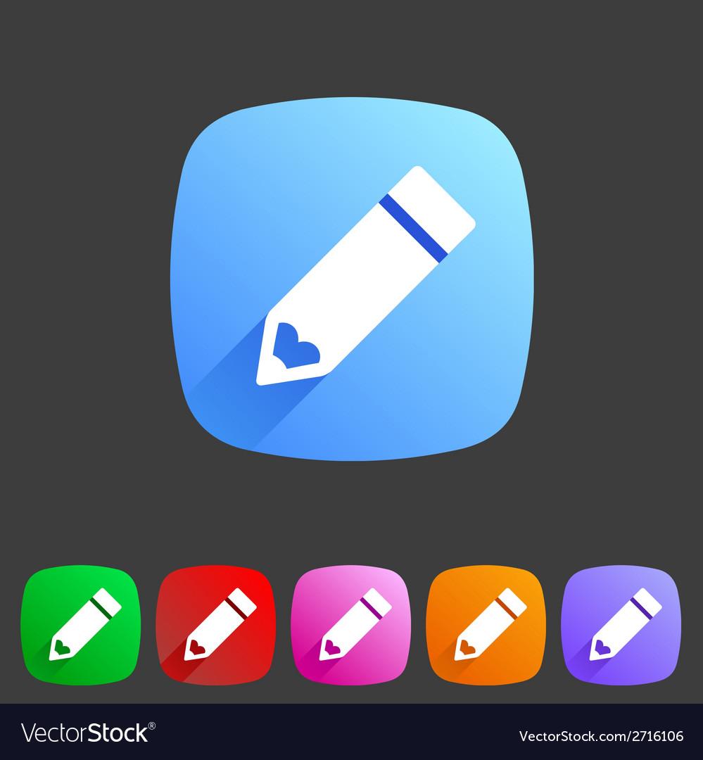 Flat pencil icon colorful icon vector   Price: 1 Credit (USD $1)
