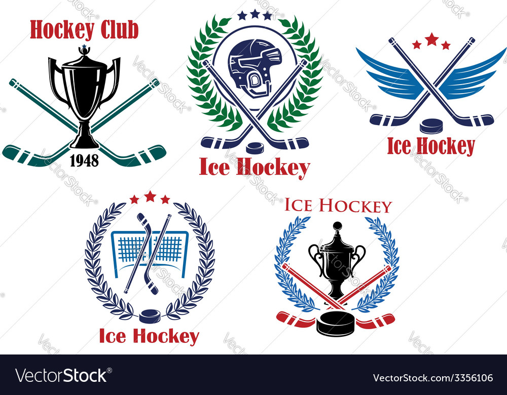 Ice hockey heraldic emblems and badges vector | Price: 1 Credit (USD $1)