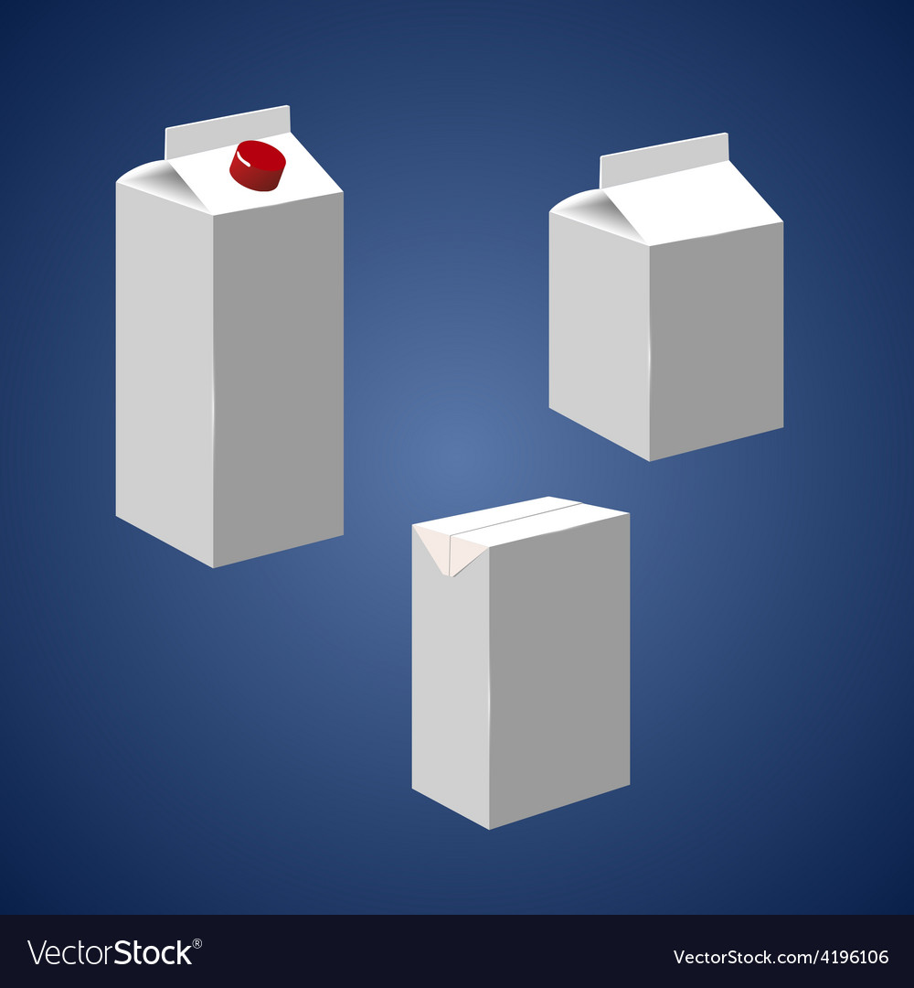 Juice milk blank white carton boxes packages vector | Price: 1 Credit (USD $1)