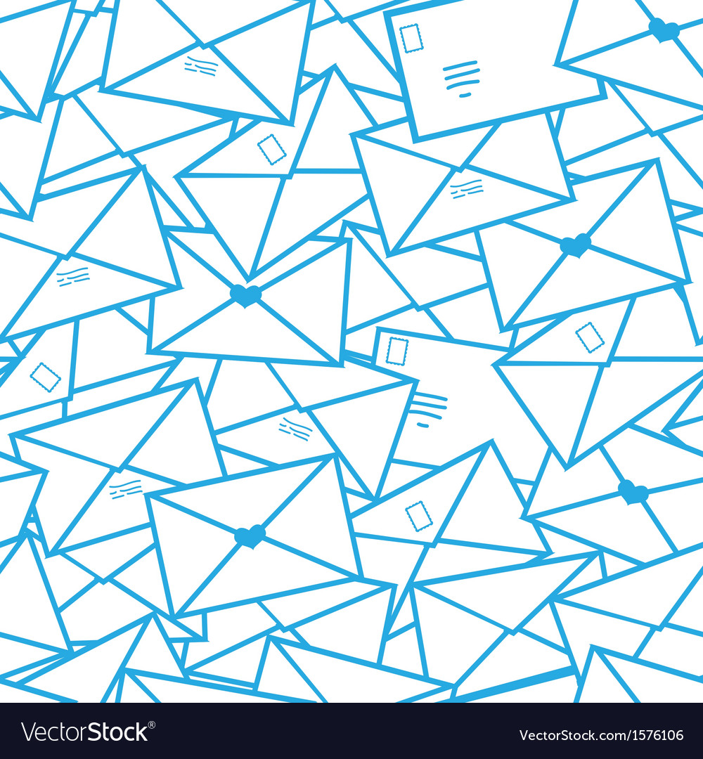 Postal letters envelopes line art seamless pattern vector | Price: 1 Credit (USD $1)
