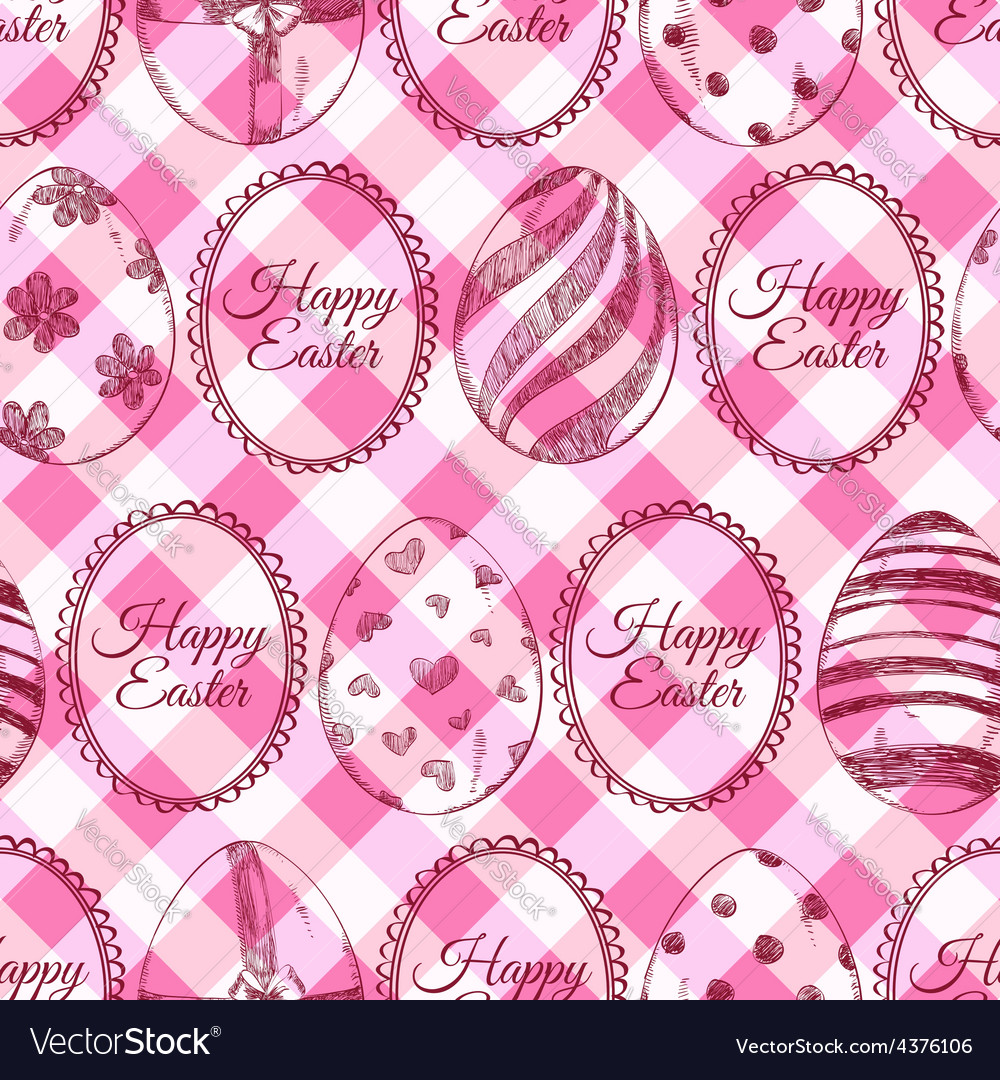 Seamless pattern of sketch easter eggs vector | Price: 1 Credit (USD $1)