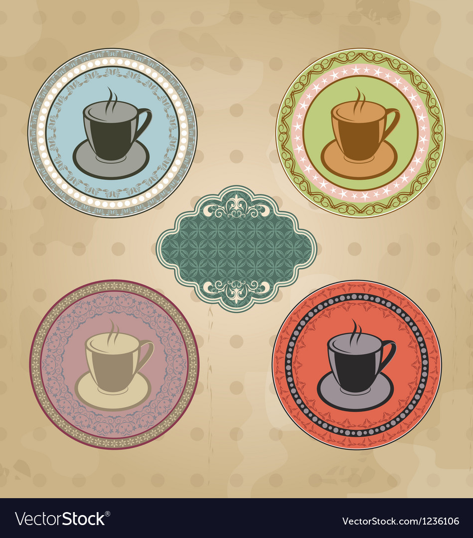 Set of vintage retro coffee labels with ornament vector | Price: 1 Credit (USD $1)