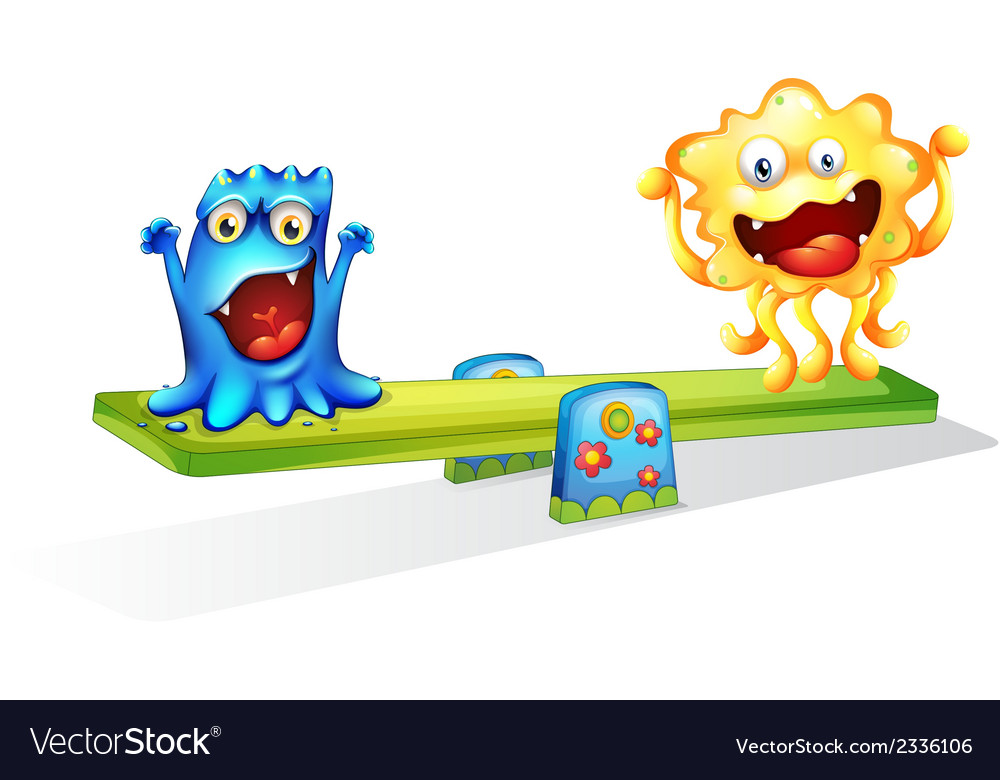Two monsters playing happily vector | Price: 1 Credit (USD $1)
