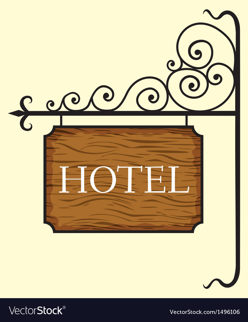Wooden hotel door sign vector | Price: 1 Credit (USD $1)