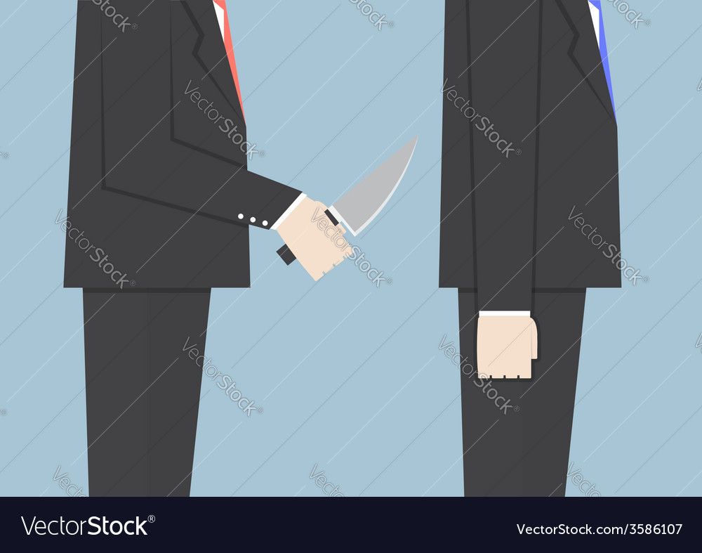 Businessman stabbing his friend in the back vector | Price: 1 Credit (USD $1)