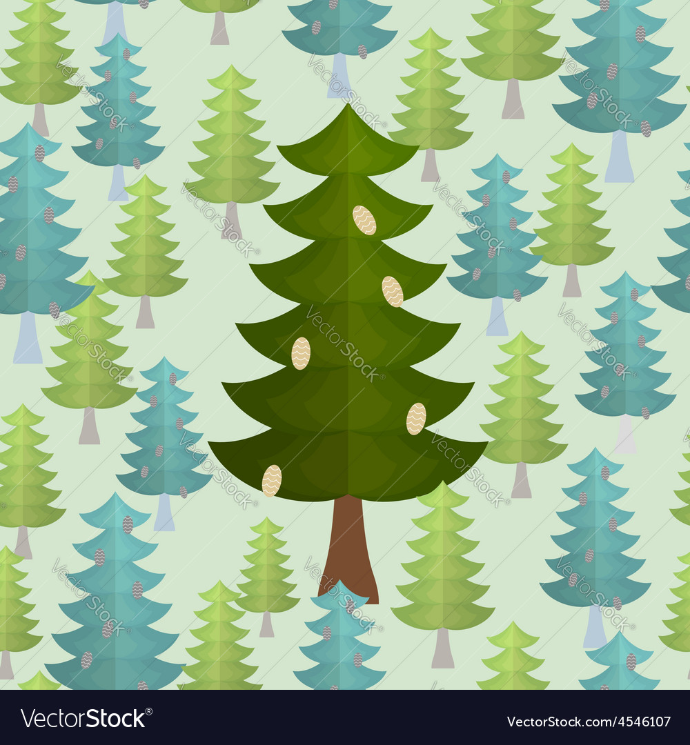 Christmas trees seamless pattern conifers vector | Price: 1 Credit (USD $1)