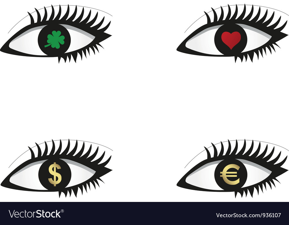 Eye set with money love and luck icons vector | Price: 1 Credit (USD $1)