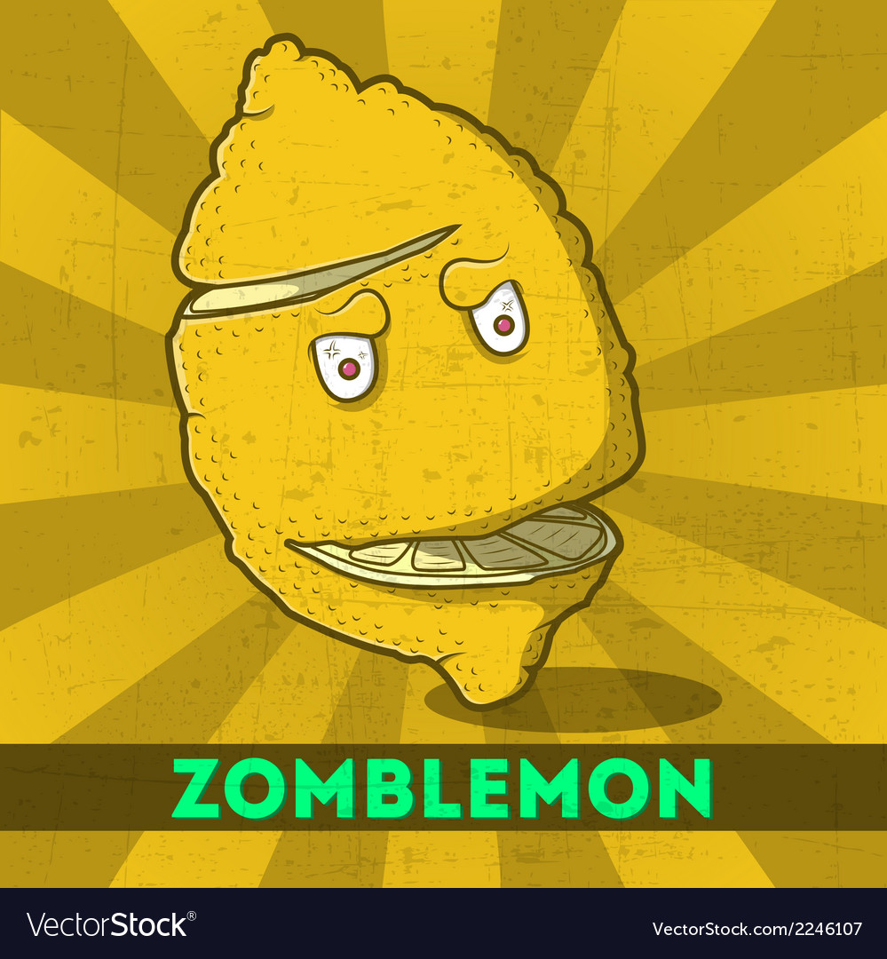 Funny cartoon zombie yellow monster lemon vector | Price: 1 Credit (USD $1)